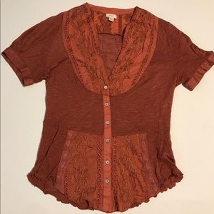 Anthropologie- size small, burnt orange blouse